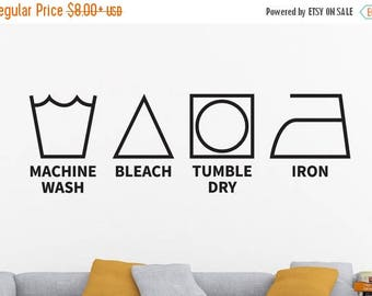 Dry Cleaning Decal, Laundry Room Decal, Laundry Decal, Laundry Symbols, Laundry Wall Decal, Laundry Room Wall Decor, Laundry Room Wall Deca