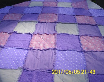 Vintage Rag Quilt / Crib Quilt / Play Pad / Purple, Pink and White Quilt / Pre-Used / Baby Quilt / Carriage Quilt / Wall Hanging / Rag Quilt