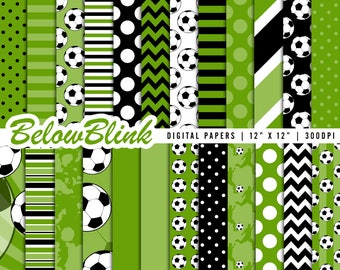 Soccer Digital Paper, Soccer Scrapbook Papers, Football Field Papers, Baby Shower, Birthday Party Decorations - Instant Download - DP433