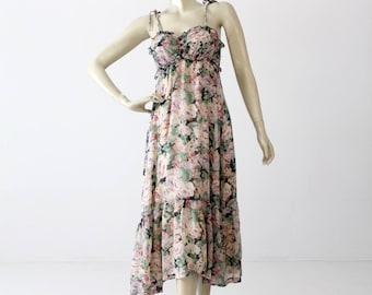 1970s floral sundress, vintage maxi dress