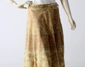 vintage boho wrap skirt, block print hippie skirt
