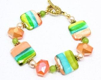 Square Shell Bead Bracelet, Multicolor Striped Bracelet, Orange Blue Green, Shell and Crystal Bracelet, Spring Fashion