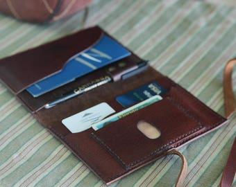 Natural Leather Travel Wallet,Passport Holder,Passport Cover,Travel ID and Boarding Pass Holder,Multiple Passports Holder,Traveler Gift