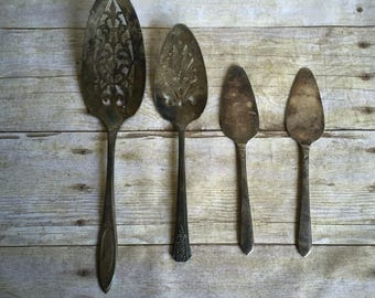 Shabby Chic Vintage Serving Flatware - Silver Plate