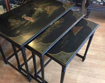 Vintage Hollywood Regency Ebonized Chinoiserie Nest Of Tables James Mont Style