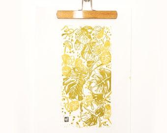 "LINOCUT PRINT-  artistic print-illustration ""Vertical garden"""