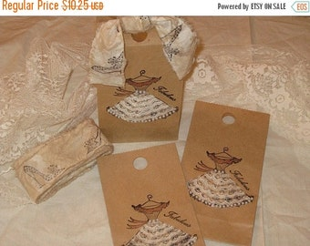March Sale Vintage Sex in the City Dress Gift Bag with Fabulous Vintage Adorned Lace and Pearl Dress Tied up with Vintage Muslin Ribbon