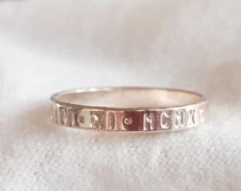 Hand stamped gold filled personalized stacking  ring.