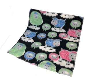 Multicolored sheep fleece cage liner, guinea pig fleece cage liner, fleece pet bedding, waterproof bedding, bedding for guinea pigs