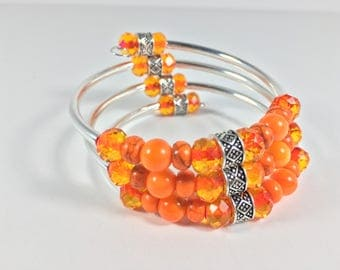 Orange Wrap Bangle Bracelet