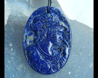 Carved Lapis Lazuli Gemstone Beauty Lady Pendant Bead,Cobalt Blue,41x29x6mm,12.8g(f0387)