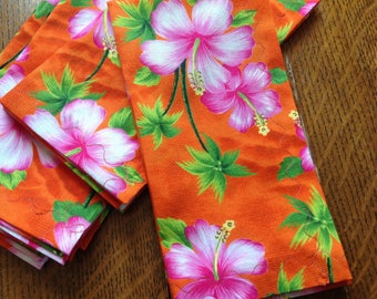 Handmade Cloth Dinner Napkins, Hawaiian  Floral Napkins, Set of 4 Napkins,  Flower Napkin, Cotton Cloth Dinner Napkins, Island Napkins