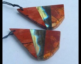 New,Nugget Multi-Color Picasso Jasper,Labradorite Intarsia Earring Bead,39x21x4mm,11.1g