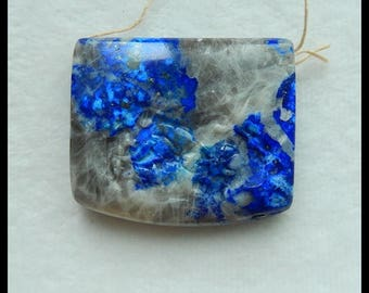 Carved Lapis Lazuli Flower And Dragonfly Gemstone Pendant Bead,49x42x12mm,55.1g