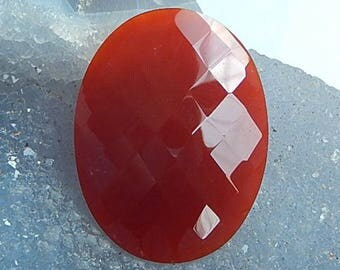Red Agate Faceted Cabochon ,40x30x6mm,8.6g(C071)