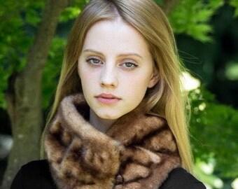 Tissavel Faux Fur Collar in Auburn Mink