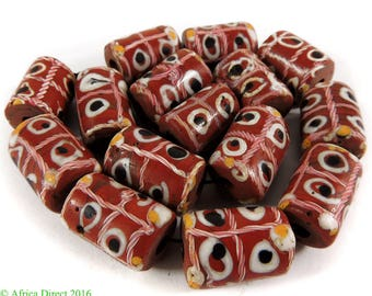 15 Tic Tac Toe Venetian Trade Beads Brick Red Africa Loose 109609