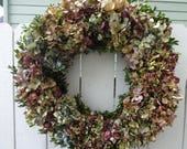 Hydrangea Wreath RESERVED FOR CANDLETHINGS  Boxwood Wreath  Shabby Chic   Spring and Summer   Dried Wreath