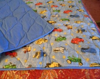 Handmade Baby Quilt Comforter -Toy Pedal Cars on Blue- Price Reduced