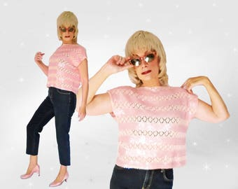Loose Summer Top is a Pink Sequin Crop Top with Boxy Loose Style, One Size Roomy Top with Boat Neckline can be a Small to Plus Size Top