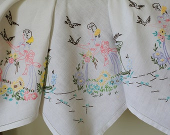 Vintage White Linen Tablecloth Hand Embroidered Crinoline Ladies Flowers Birds