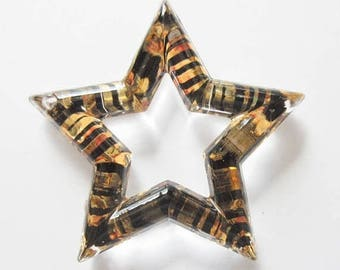 On Sale Black and Gold Striped Star Charms Plastic Stars Jewelry Supply