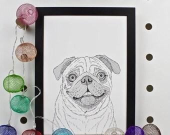 ON SALE Pug Dog Portrait Print