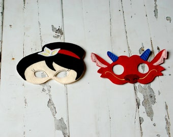 Mulan and Mushu Masks