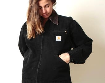 vintage CARHARTT black jacket with corduroy contrast collar DENIM FADED jean jacket cropped coat with flannel striped lining