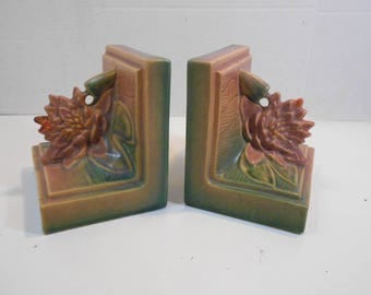 Pair Roseville Art Pottery Water Lily Bookends  #12 Pink Underglaze 1943 Chipped & Repaired