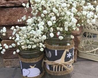 Mason Jar Wrap, Safari Animal Zoo Jungle, Mason Jar Decoration, Baby Shower, Party, Wedding Decoration