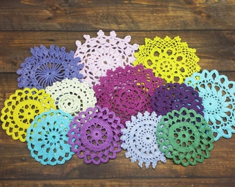 12 Cool Tones, Hand Dyed Crochet Doilies, 2.5 through 4 inch Doilies, Crochet Mandalas in Blues, Greens, and Purples, Small Craft Doilies