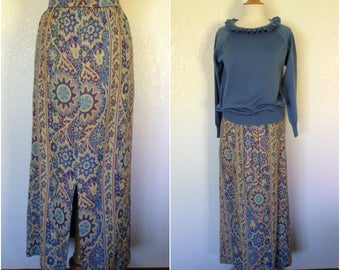 """Vintage SKIRT ONLY 1960s blue burgundy ecru tapestry maxi skirt 