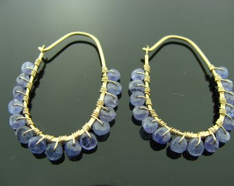 Small Tanzanite Vermeil 14K Gold Filled Hoops Earrings