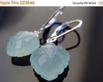 Sky Blue Chalcedony Carved Leaf Sterling Silver Leverback Earrings