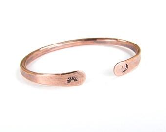 Copper Bracelet Sun & Moon Bracelet, Copper Wire Bracelet, Rustic Antiqued Copper Bracelet, 6 Gauge Copper Cuff, Made To Order