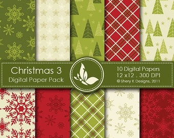 40% off Christmas 3 Paper Pack - 10 PrintableDigital papers - 12 x12 - 300 DPI ////// 3