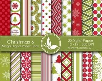 40% off Christmas 6 Mega Paper Pack - 20 Printable Digital papers - 12 x12 - 300 DPI //////6