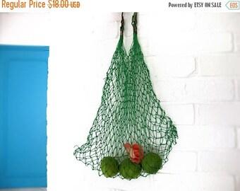 Rare French Vintage green plastic Mesh Market Basket, Reusable String Shopping Grocery Bag Shopper Tote Mesh , retro kitchen