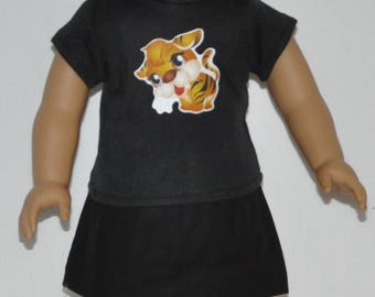 Cute Black Tiger Skirt Set Doll Clothes Made To Fit 18 Inch American Girl Dolls