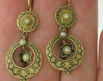 Antique ENAMEL EARRINGS, Double Star Dangle with Pearl, Circa 1850