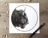 Bison hunter's moon october - Print of an Original Graphite Drawing with Gold Leaf - Animal Portrait Bison Print