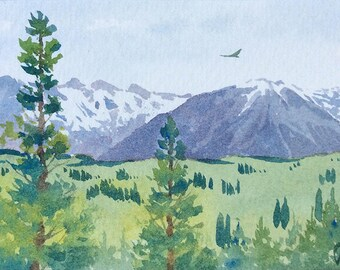 ACEO Original watercolor painting - Rocky and green