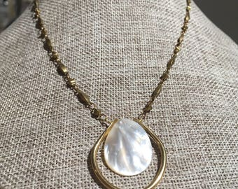 Brass and Mother of Pearl Necklace