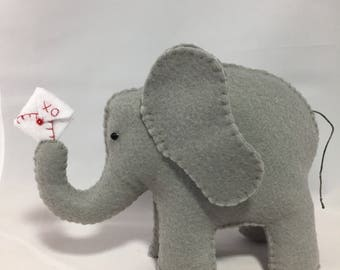Felt Elephant with Red and White Valentine - 6 inches tall
