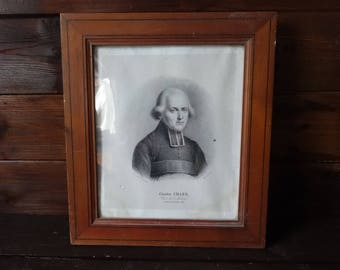 Antique French Print Charles Chazo Cure de Medard framed glass fronted circa 1850's / English Shop