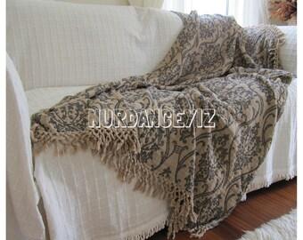 Twin XL dorm bedding Summer blanket shawl beige damask  - Sofa bed throw - couch coverlet - Woven - blanket bed scarf Nurdanceyiz Turkey