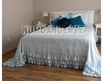 Shabby cottage chic bedding romantic tiered layers ruffles duvet cover super KING queen - linen ruffled bedding -3 tier ruffle Nurdanceyiz