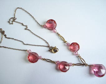 Art Deco Necklace Pink Glass Beads 1920's 1930's