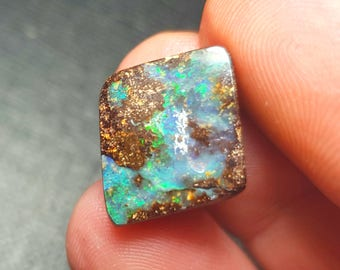 18.5mm Boulder opal VIDEO link with precious Electric green fire 18.5 by 16 by 5mm 11.1ct